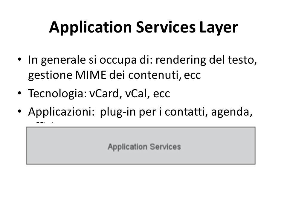 Application Services Layer In generale si occupa di: rendering del testo, gestione MIME dei contenuti, ecc Tecnologia: vCard, vCal, ecc Applicazioni: plug-in per i contatti, agenda, ufficio, ecc