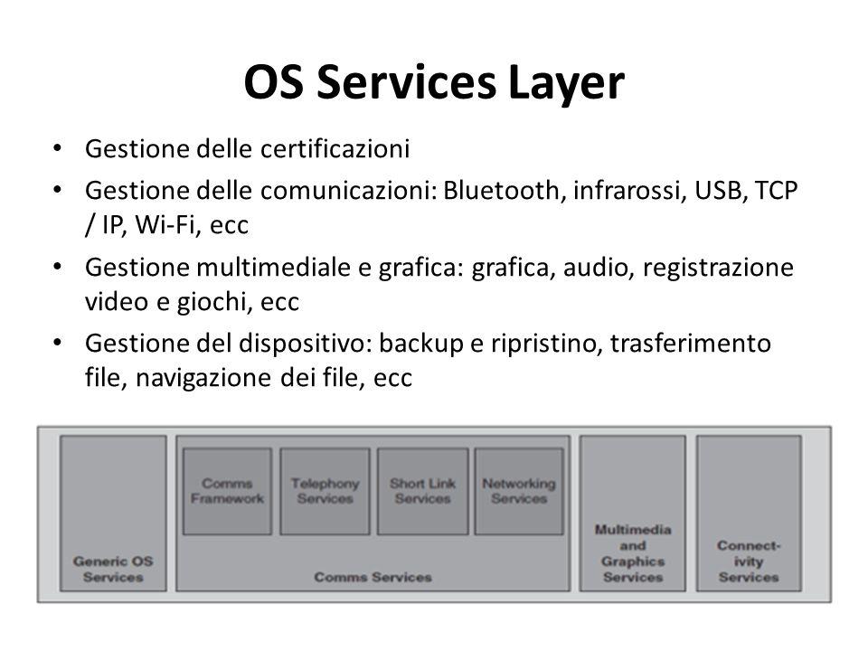 OS Services Layer Gestione delle certificazioni Gestione delle comunicazioni: Bluetooth, infrarossi, USB, TCP / IP, Wi-Fi, ecc Gestione multimediale e grafica: grafica, audio, registrazione video e giochi, ecc Gestione del dispositivo: backup e ripristino, trasferimento file, navigazione dei file, ecc
