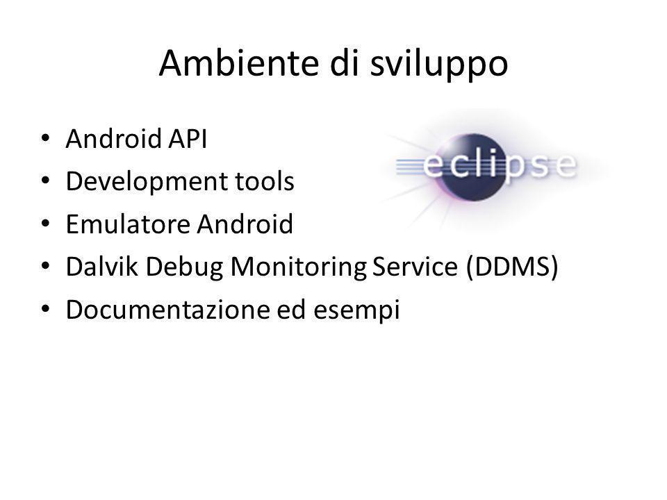 Ambiente di sviluppo Android API Development tools Emulatore Android Dalvik Debug Monitoring Service (DDMS) Documentazione ed esempi