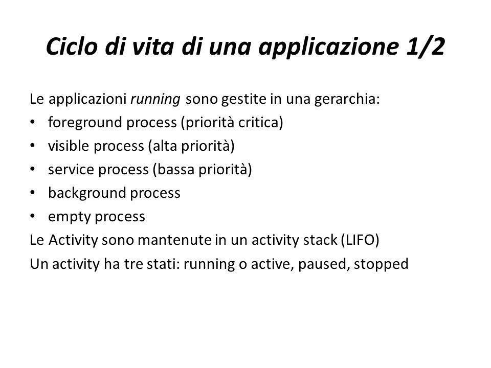 Ciclo di vita di una applicazione 1/2 Le applicazioni running sono gestite in una gerarchia: foreground process (priorità critica) visible process (al