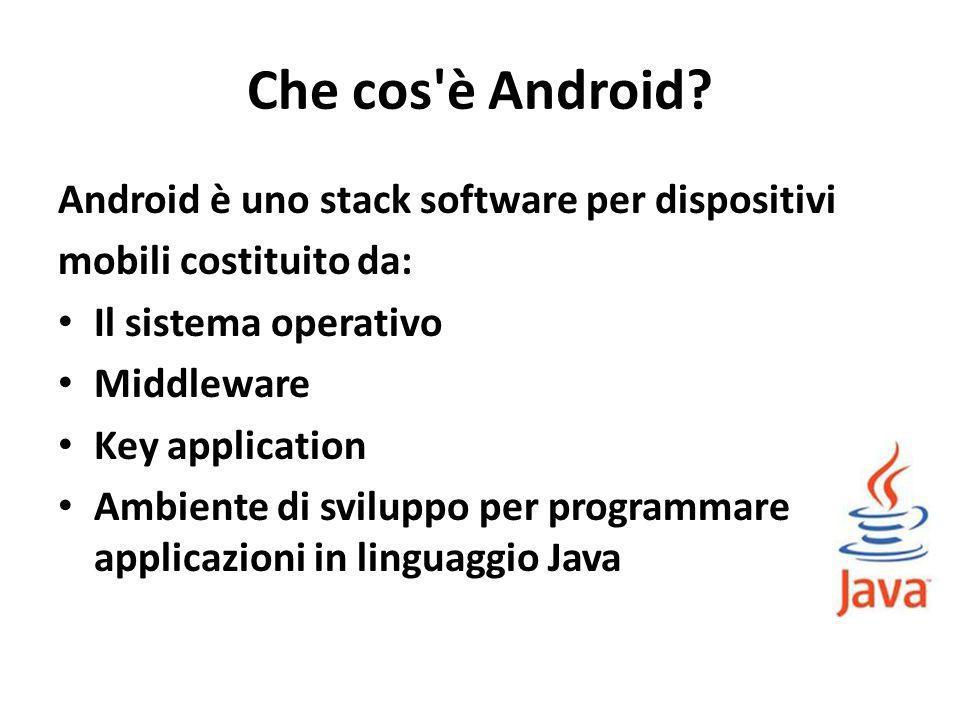 Che cos'è Android? Android è uno stack software per dispositivi mobili costituito da: Il sistema operativo Middleware Key application Ambiente di svil