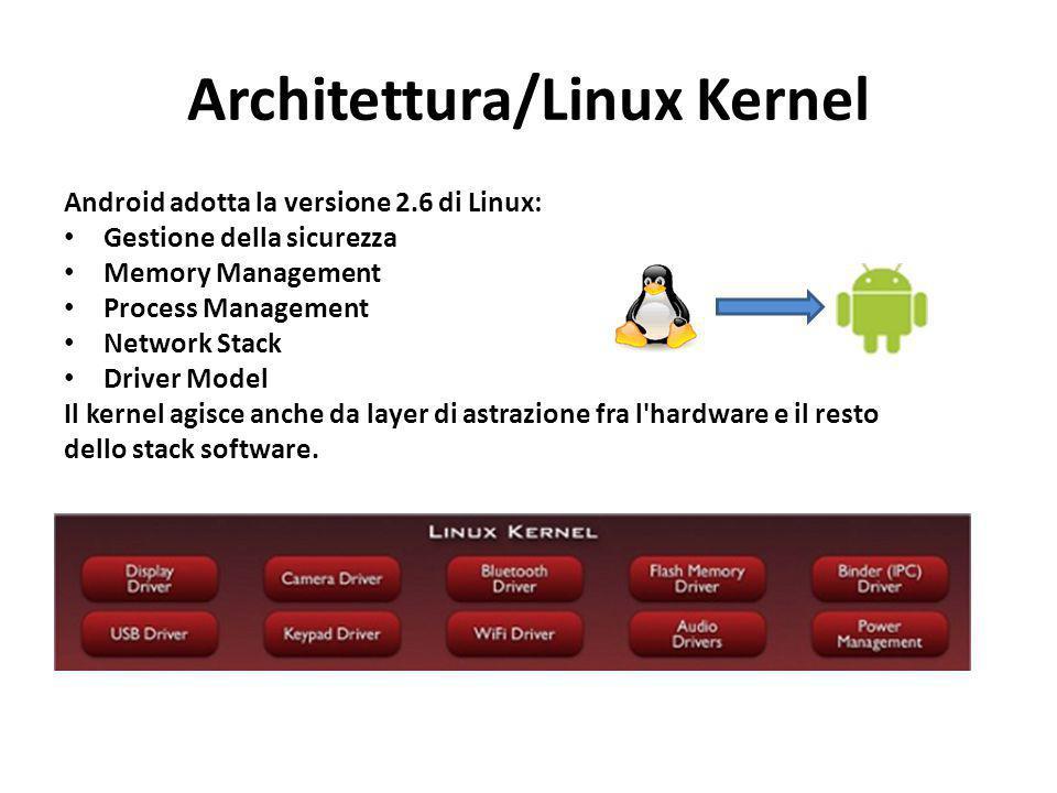 Architettura/Linux Kernel Android adotta la versione 2.6 di Linux: Gestione della sicurezza Memory Management Process Management Network Stack Driver