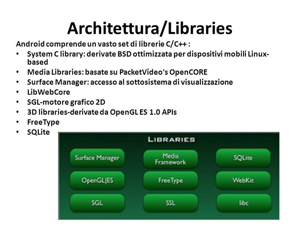 Architettura/Libraries Android comprende un vasto set di librerie C/C++ : System C library: derivate BSD ottimizzata per dispositivi mobili Linux- bas