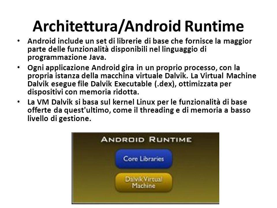 Architettura/Android Runtime Android include un set di librerie di base che fornisce la maggior parte delle funzionalità disponibili nel linguaggio di
