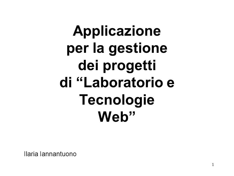 1 Applicazione per la gestione dei progetti di Laboratorio e Tecnologie Web Ilaria Iannantuono