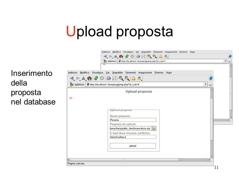11 Upload proposta Inserimento della proposta nel database