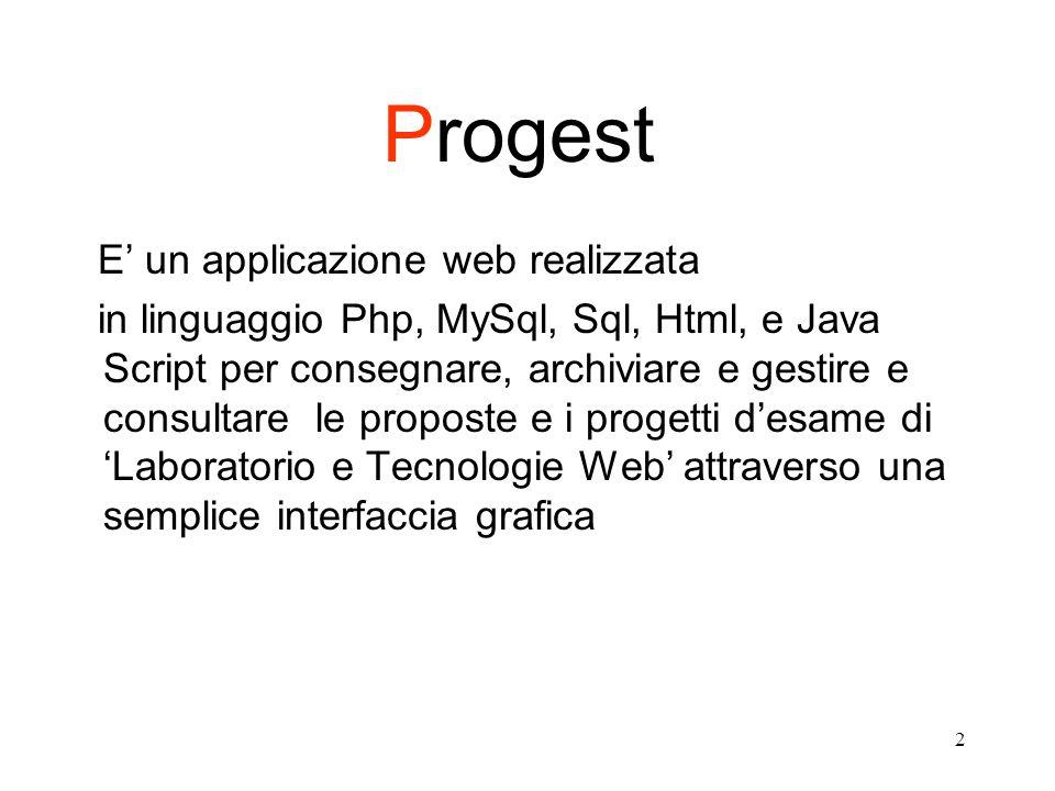 2 Progest E' un applicazione web realizzata in linguaggio Php, MySql, Sql, Html, e Java Script per consegnare, archiviare e gestire e consultare le proposte e i progetti d'esame di 'Laboratorio e Tecnologie Web' attraverso una semplice interfaccia grafica