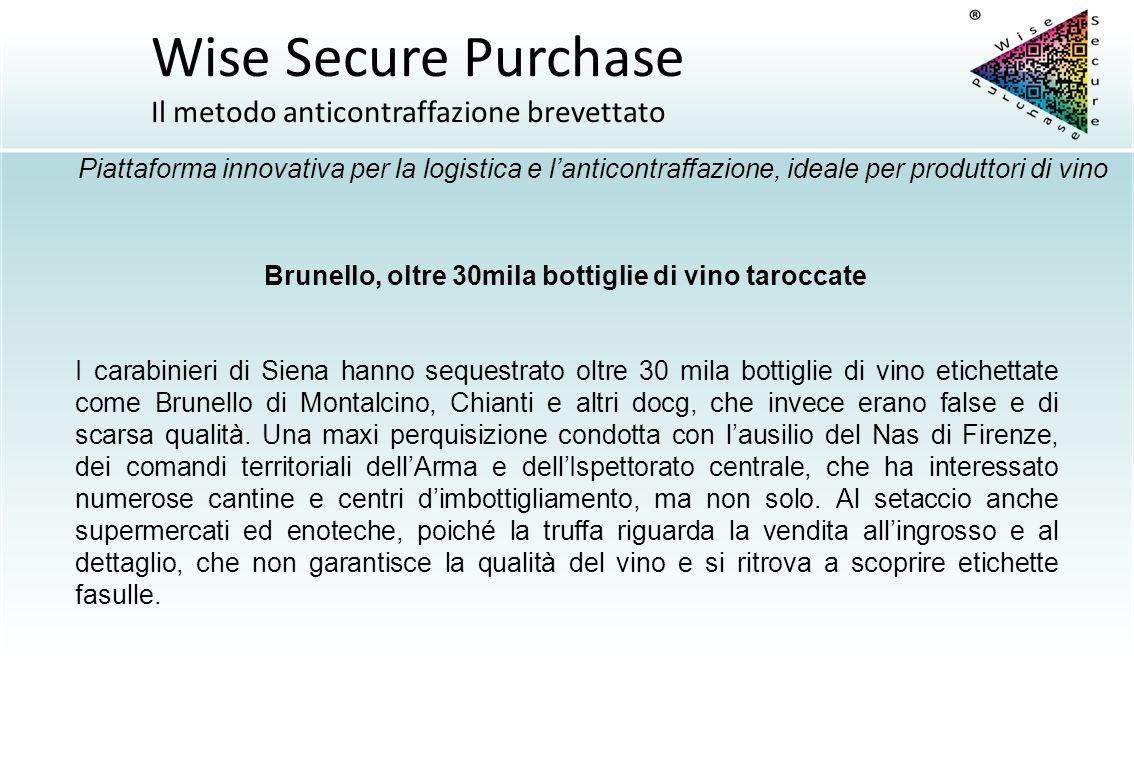 Brunello, oltre 30mila bottiglie di vino taroccate I carabinieri di Siena hanno sequestrato oltre 30 mila bottiglie di vino etichettate come Brunello
