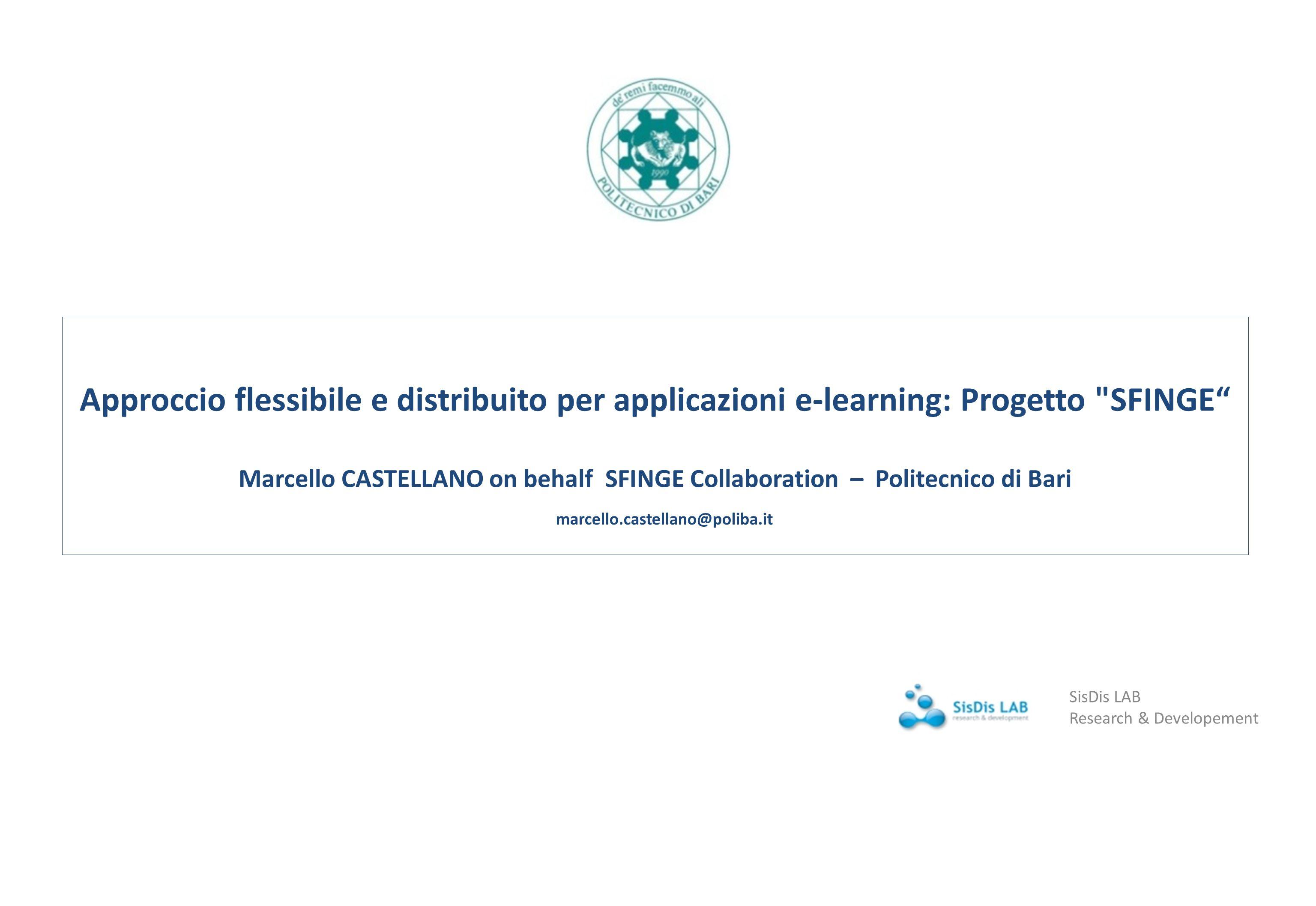 Approccio flessibile e distribuito per applicazioni e-learning: Progetto