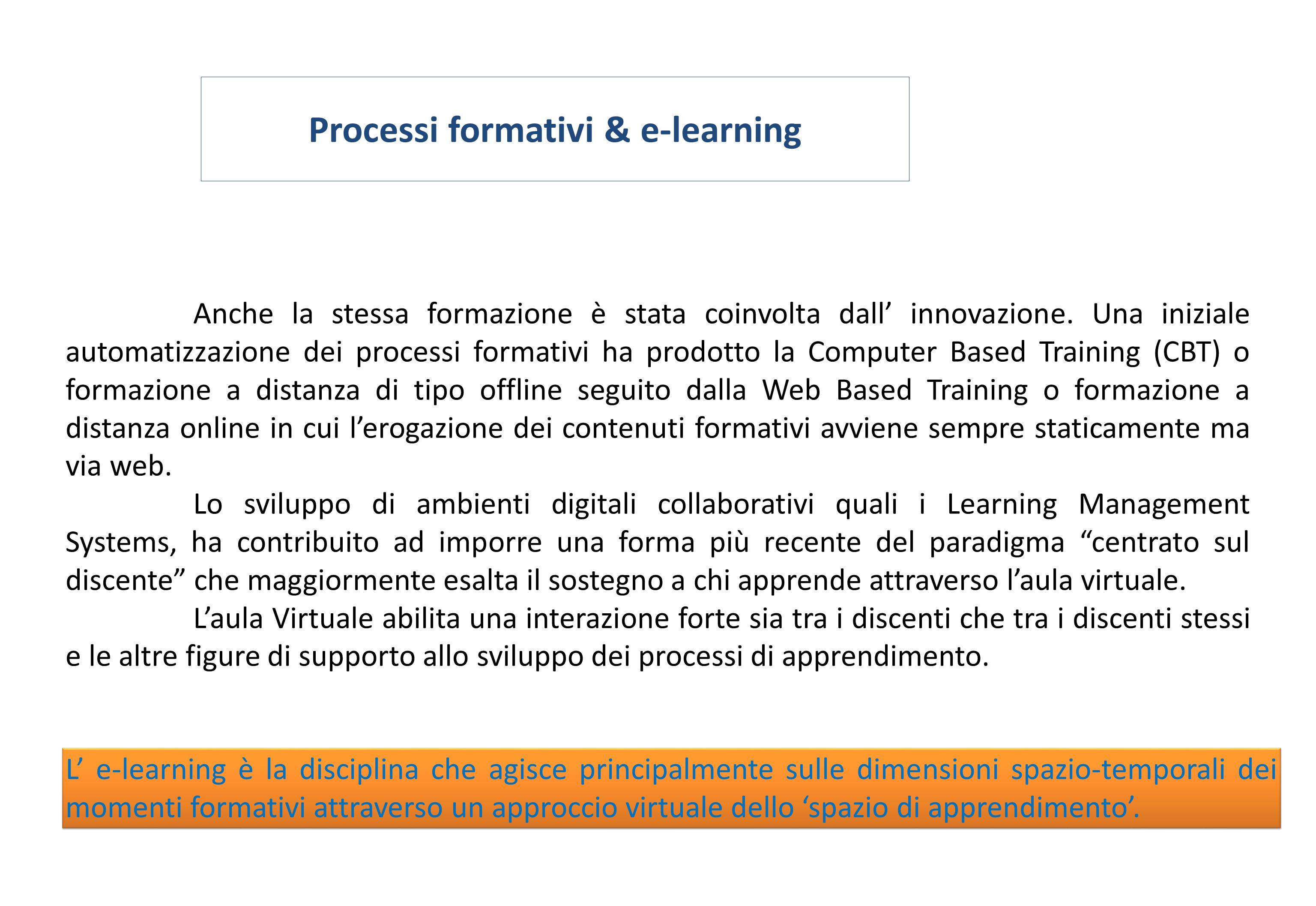 Processi formativi & e-learning Anche la stessa formazione è stata coinvolta dall' innovazione. Una iniziale automatizzazione dei processi formativi h