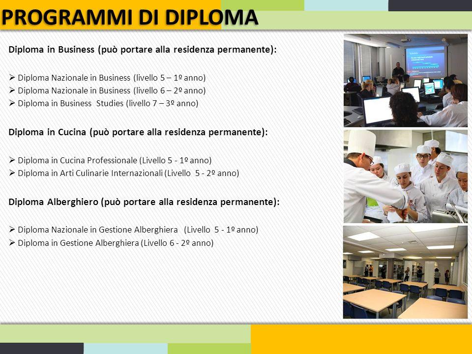 PROGRAMMI DI DIPLOMA Diploma in Business (può portare alla residenza permanente):  Diploma Nazionale in Business (livello 5 – 1º anno)  Diploma Nazi