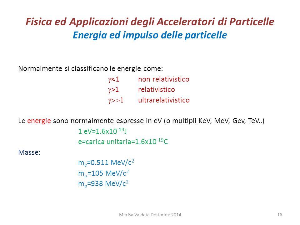 Fisica ed Applicazioni degli Acceleratori di Particelle Energia ed impulso delle particelle Normalmente si classificano le energie come:  1non relat