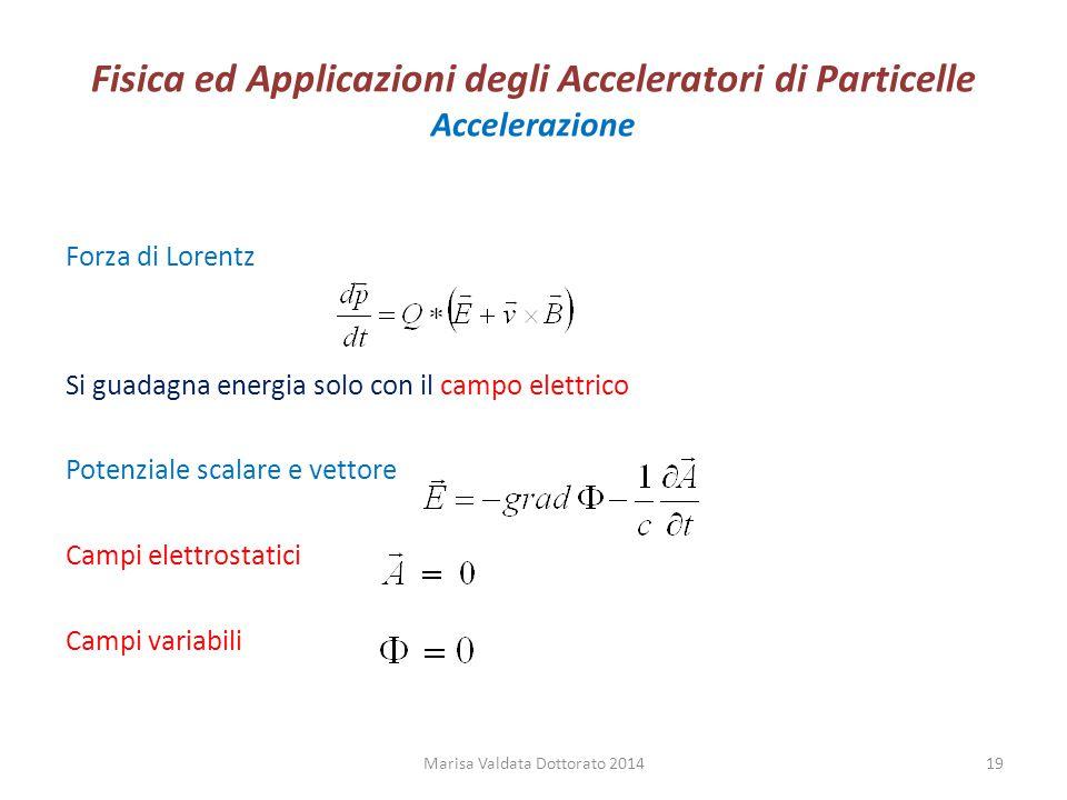 Fisica ed Applicazioni degli Acceleratori di Particelle Accelerazione Forza di Lorentz Si guadagna energia solo con il campo elettrico Potenziale scal
