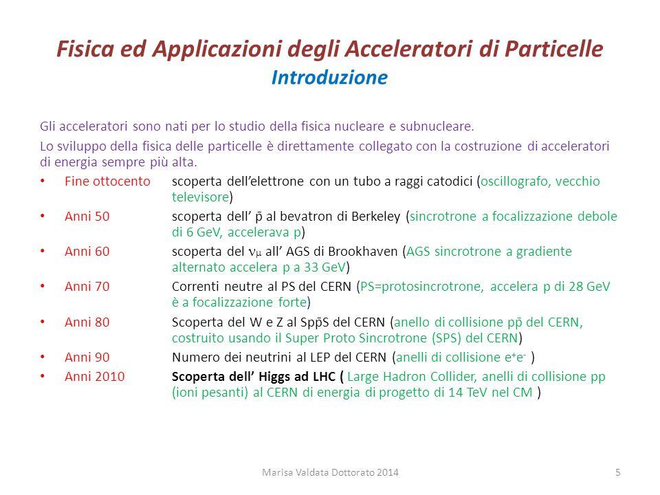 Fisica ed Applicazioni degli Acceleratori di Particelle Accelerazione RF Marisa Valdata Dottorato 201426