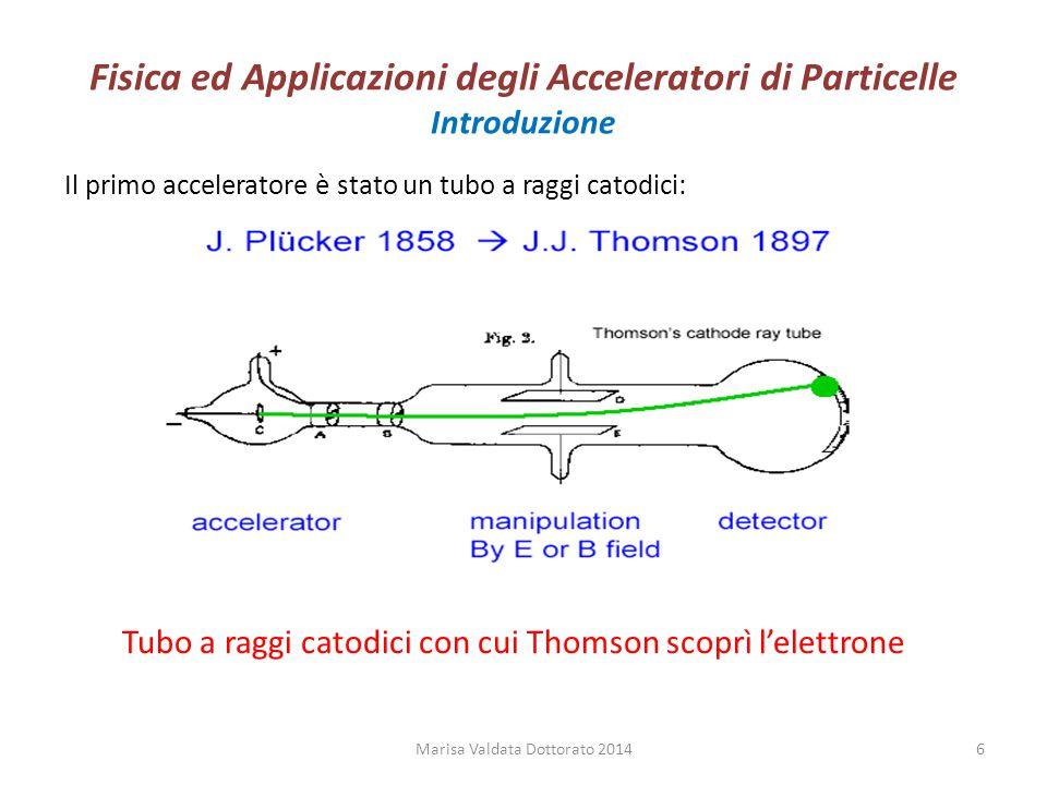 Fisica ed Applicazioni degli Acceleratori di Particelle Introduzione L'acceleratore (anelli di collisione) ad energia più elevata è LHC Marisa Valdata Dottorato 20147