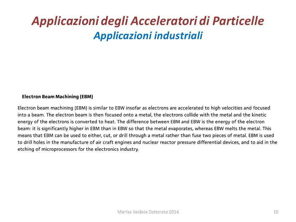 Applicazioni degli Acceleratori di Particelle Applicazioni industriali Marisa Valdata Dottorato 201410
