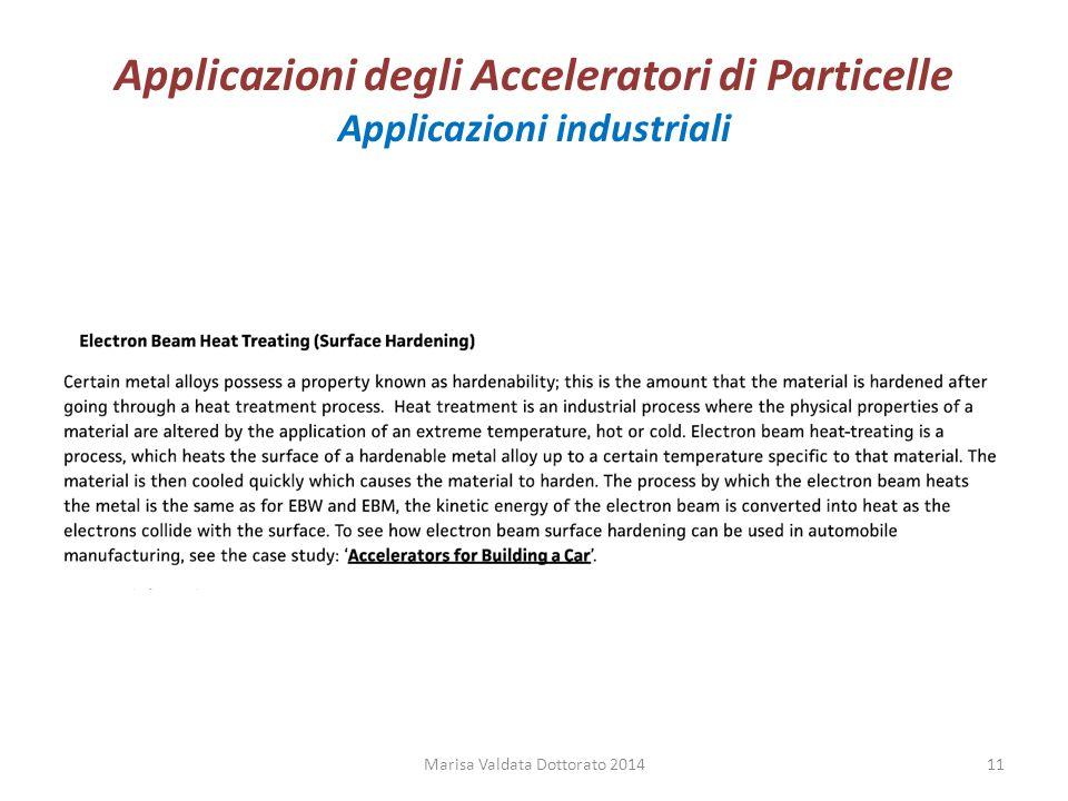 Applicazioni degli Acceleratori di Particelle Applicazioni industriali Marisa Valdata Dottorato 201411
