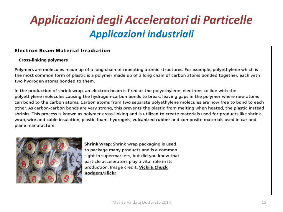 Applicazioni degli Acceleratori di Particelle Applicazioni industriali Marisa Valdata Dottorato 201415