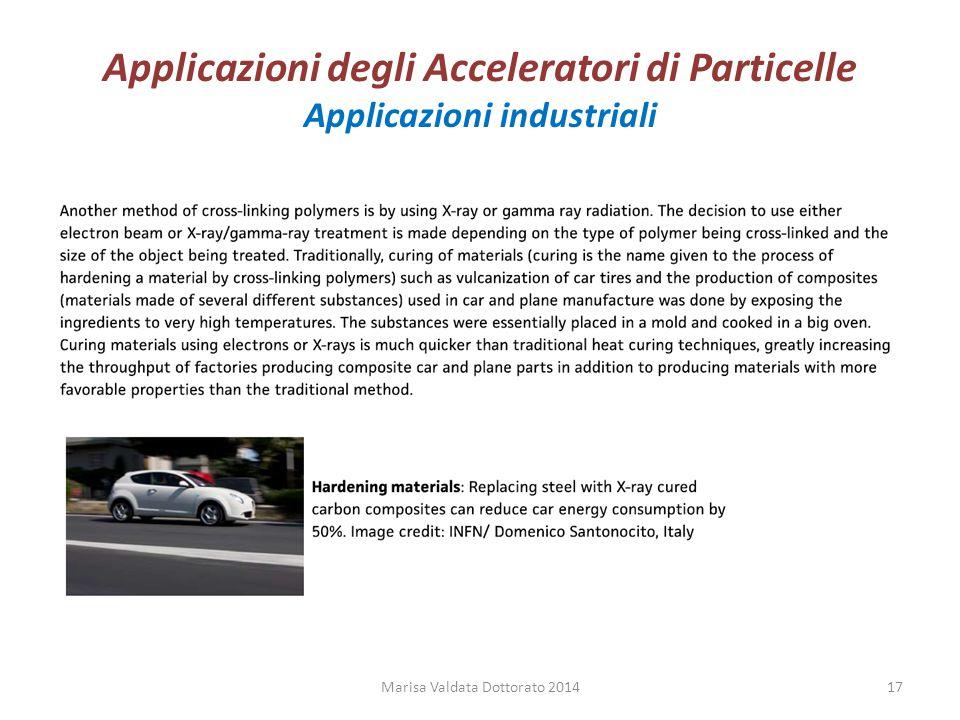 Applicazioni degli Acceleratori di Particelle Applicazioni industriali Marisa Valdata Dottorato 201417