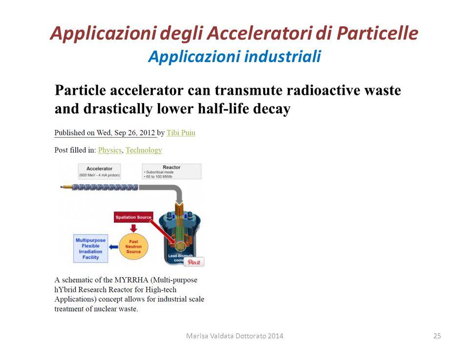 Applicazioni degli Acceleratori di Particelle Applicazioni industriali Marisa Valdata Dottorato 201425