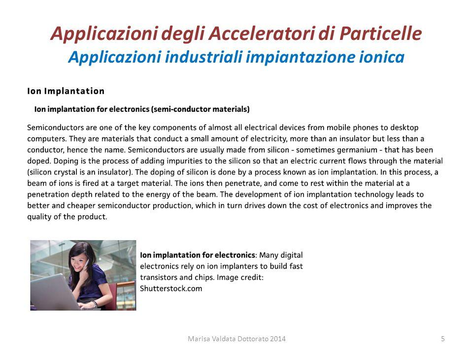 Applicazioni degli Acceleratori di Particelle Applicazioni industriali impiantazione ionica Marisa Valdata Dottorato 20145