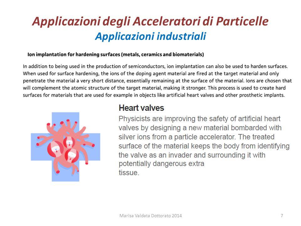 Applicazioni degli Acceleratori di Particelle Applicazioni industriali Marisa Valdata Dottorato 20147
