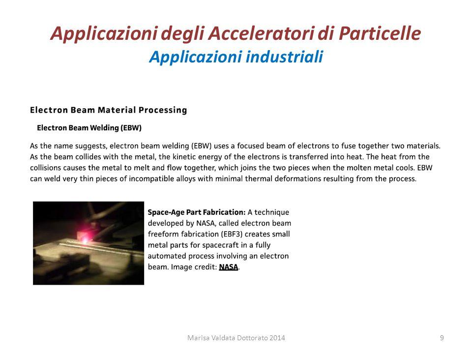 Applicazioni degli Acceleratori di Particelle Applicazioni industriali Marisa Valdata Dottorato 20149