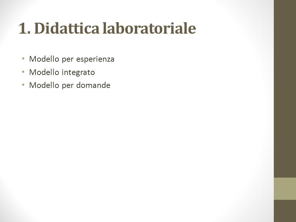 1. Didattica laboratoriale Modello per esperienza Modello integrato Modello per domande