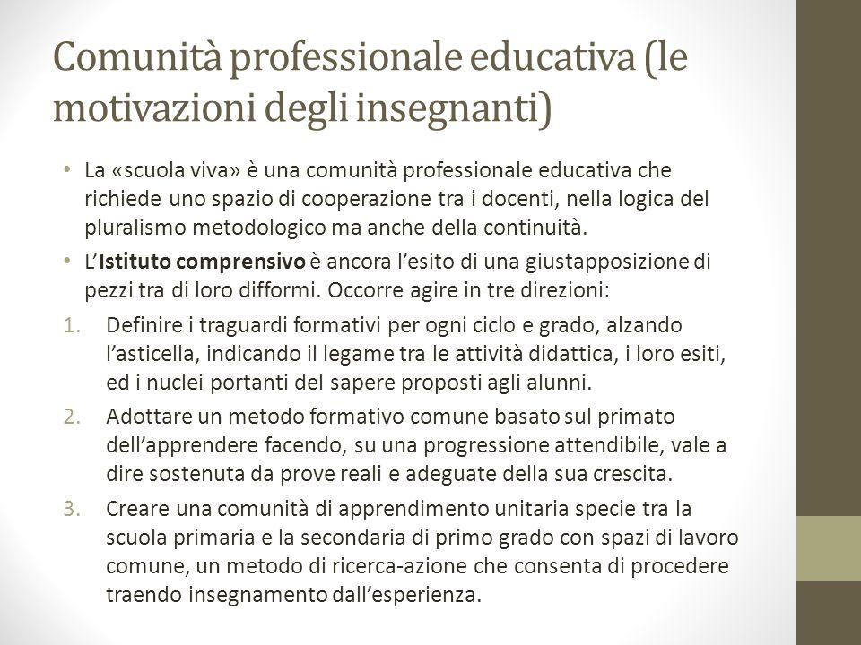 Comunità professionale educativa (le motivazioni degli insegnanti) La «scuola viva» è una comunità professionale educativa che richiede uno spazio di cooperazione tra i docenti, nella logica del pluralismo metodologico ma anche della continuità.