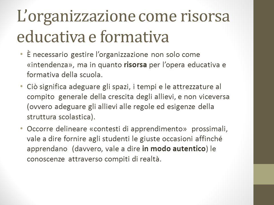 L'organizzazione come risorsa educativa e formativa È necessario gestire l'organizzazione non solo come «intendenza», ma in quanto risorsa per l'opera educativa e formativa della scuola.