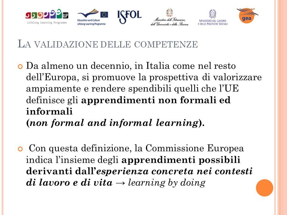 L A VALIDAZIONE DELLE COMPETENZE Da almeno un decennio, in Italia come nel resto dell'Europa, si promuove la prospettiva di valorizzare ampiamente e r