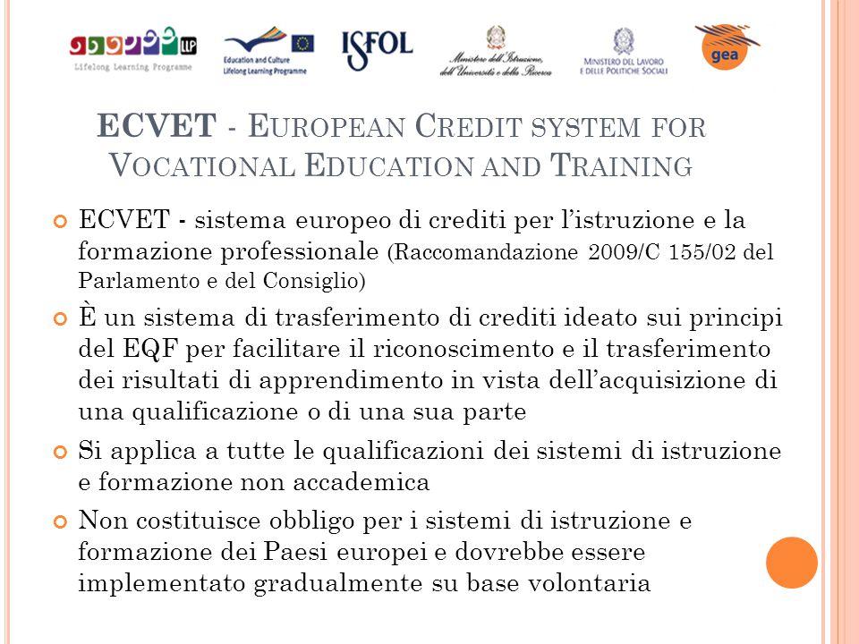 ECVET - E UROPEAN C REDIT SYSTEM FOR V OCATIONAL E DUCATION AND T RAINING ECVET - sistema europeo di crediti per l'istruzione e la formazione professi
