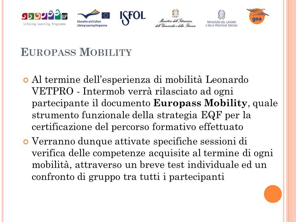 E UROPASS M OBILITY Al termine dell'esperienza di mobilità Leonardo VETPRO - Intermob verrà rilasciato ad ogni partecipante il documento Europass Mobi