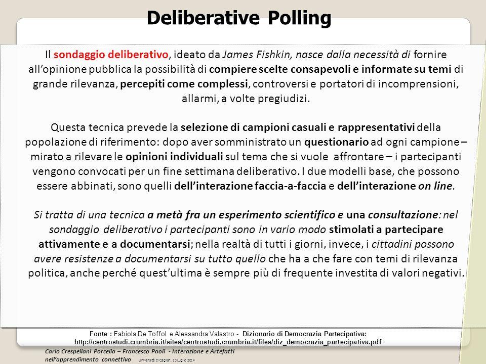 Deliberative Polling Fonte : Fabiola De Toffol e Alessandra Valastro - Dizionario di Democrazia Partecipativa: http://centrostudi.crumbria.it/sites/ce