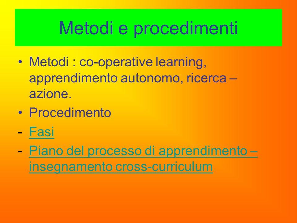Metodi e procedimenti Metodi : co-operative learning, apprendimento autonomo, ricerca – azione. Procedimento -FasiFasi -Piano del processo di apprendi