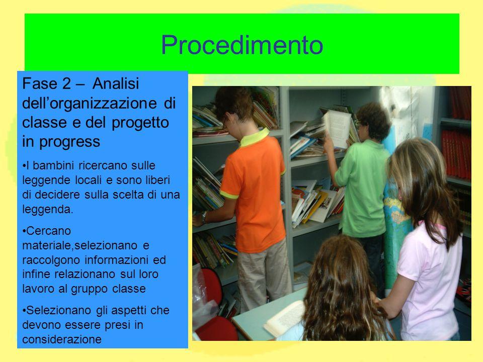 Procedimento Fase 2 – Analisi dell'organizzazione di classe e del progetto in progress I bambini ricercano sulle leggende locali e sono liberi di deci