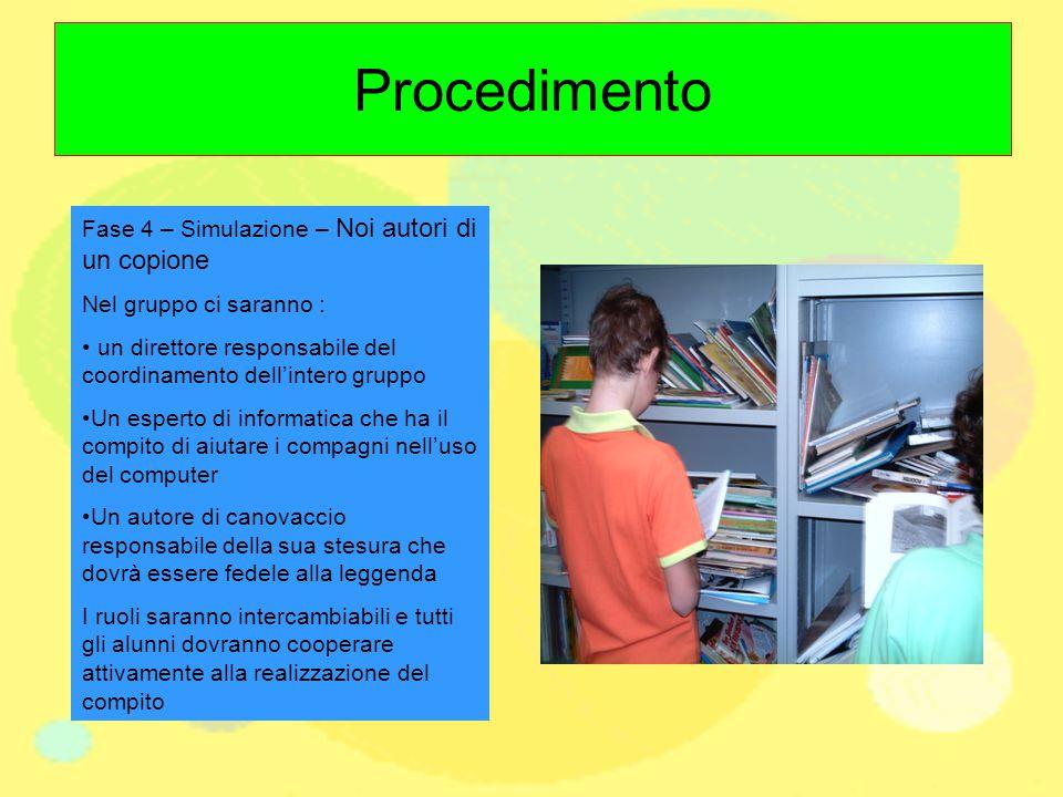 Procedimento Fase 4 – Simulazione – Noi autori di un copione Nel gruppo ci saranno : un direttore responsabile del coordinamento dell'intero gruppo Un