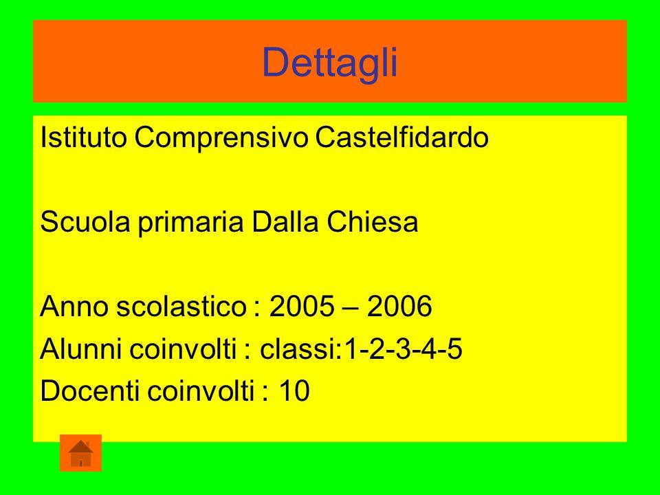 Dettagli Istituto Comprensivo Castelfidardo Scuola primaria Dalla Chiesa Anno scolastico : 2005 – 2006 Alunni coinvolti : classi:1-2-3-4-5 Docenti coi