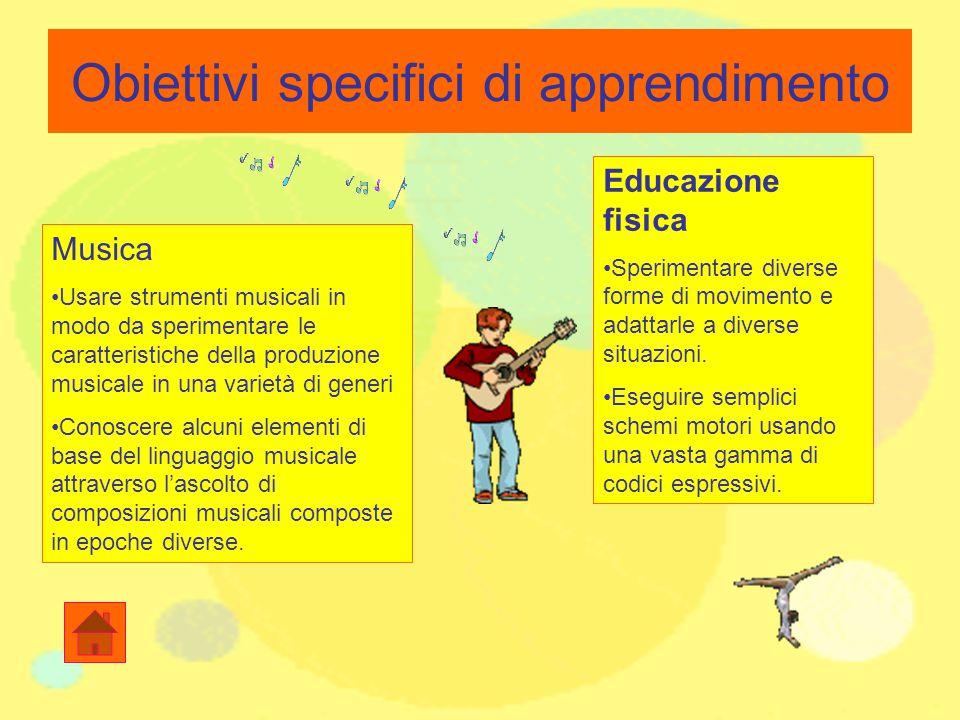 Obiettivi specifici di apprendimento Musica Usare strumenti musicali in modo da sperimentare le caratteristiche della produzione musicale in una varie