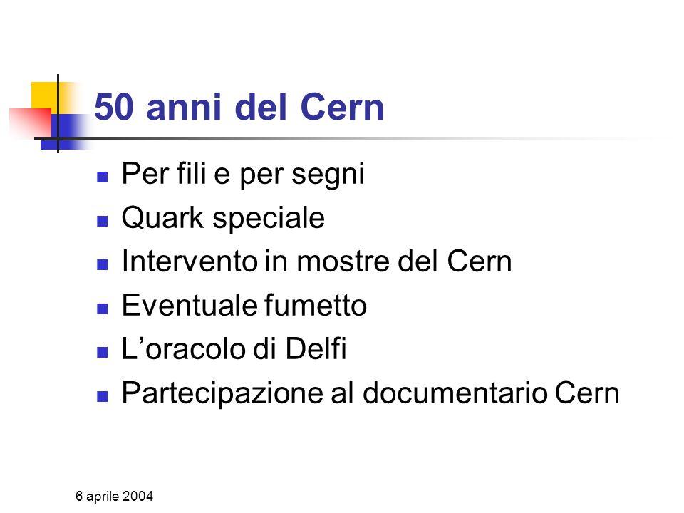 6 aprile 2004 Le sezioni Dal grande al piccolo Acceleratori e rivelatori Neutrini ed astroparticelle Applicazioni interdisciplinari