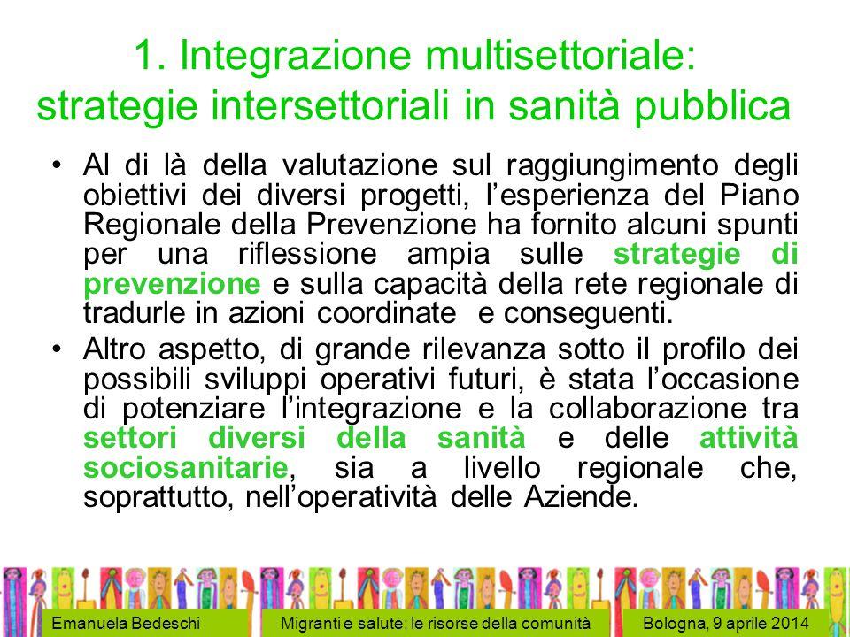 Bologna, 9 aprile 2014Emanuela BedeschiMigranti e salute: le risorse della comunità 1.