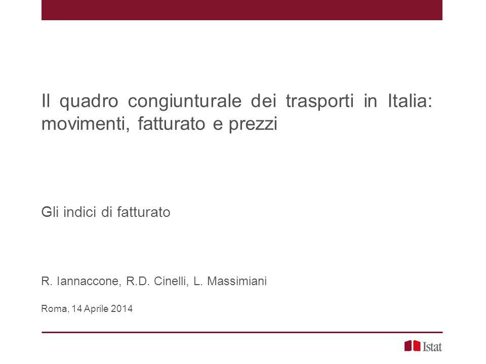 Il quadro congiunturale dei trasporti in Italia: movimenti, fatturato e prezzi Gli indici di fatturato R. Iannaccone, R.D. Cinelli, L. Massimiani Roma