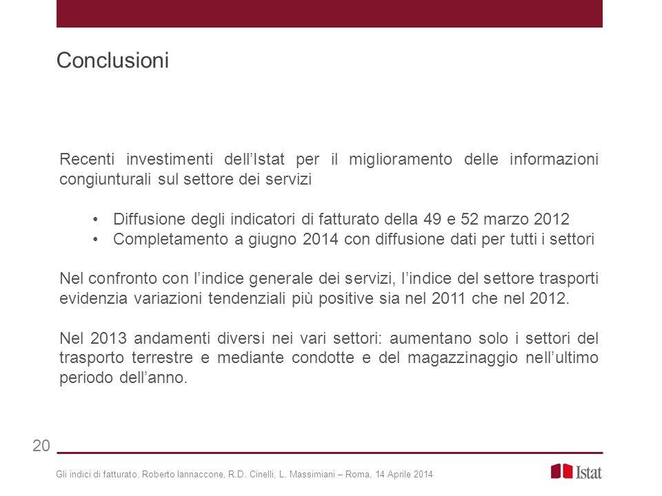 Conclusioni 20 Recenti investimenti dell'Istat per il miglioramento delle informazioni congiunturali sul settore dei servizi Diffusione degli indicato