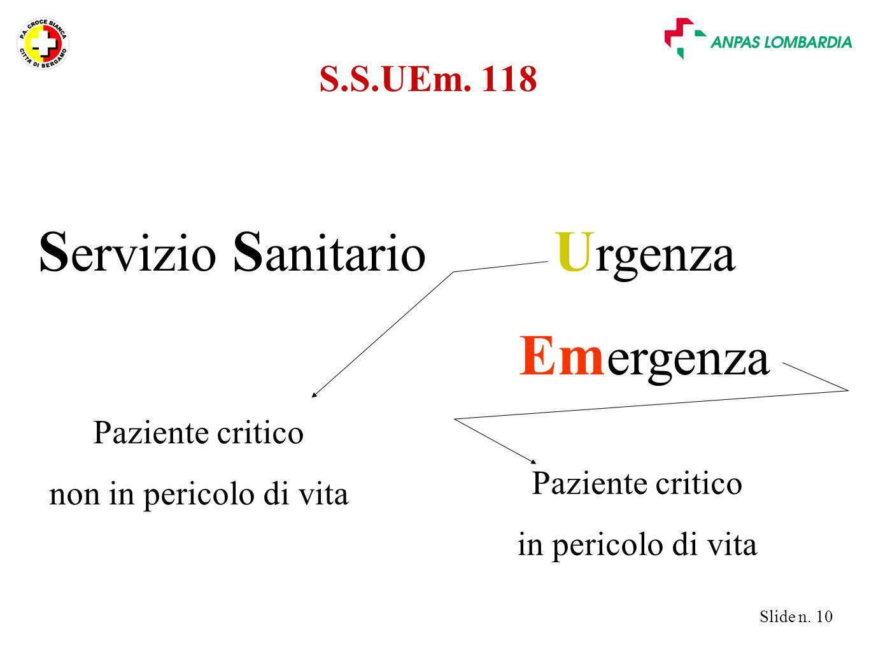 Slide n. 10 U rgenza Em ergenza S ervizio S anitario Paziente critico non in pericolo di vita Paziente critico in pericolo di vita S.S.UEm. 118