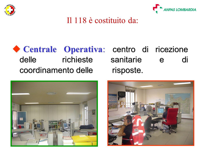 Slide n. 11 Il 118 è costituito da:  Centrale Operativa: centro di ricezione delle richieste sanitarie e di coordinamento delle risposte.