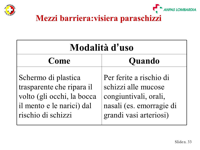 Slide n. 33 Per ferite a rischio di schizzi alle mucose congiuntivali, orali, nasali (es. emorragie di grandi vasi arteriosi) Schermo di plastica tras