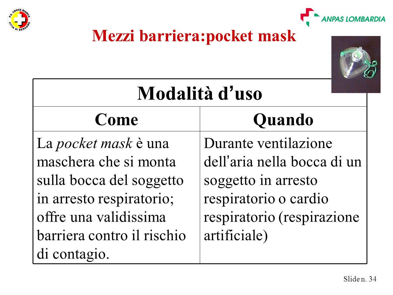 Slide n. 34 Durante ventilazione dell ' aria nella bocca di un soggetto in arresto respiratorio o cardio respiratorio (respirazione artificiale) La po