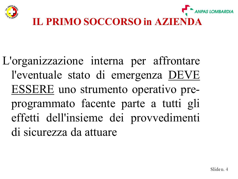 Slide n. 4 L'organizzazione interna per affrontare l'eventuale stato di emergenza DEVE ESSERE uno strumento operativo pre- programmato facente parte a