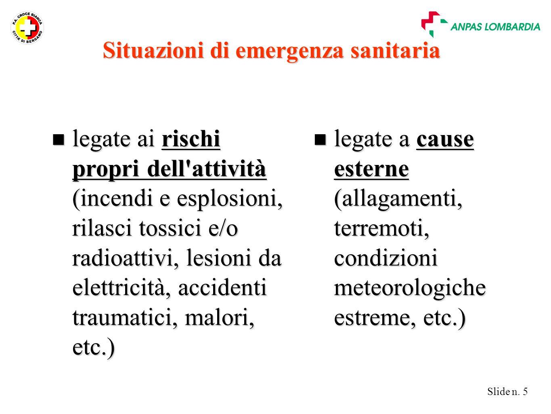 Slide n. 5 n legate ai rischi propri dell'attività (incendi e esplosioni, rilasci tossici e/o radioattivi, lesioni da elettricità, accidenti traumatic