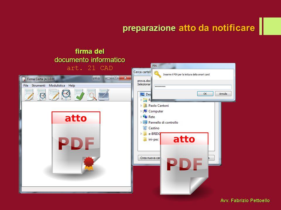 firma del documento informatico art. 21 CAD preparazione atto da notificare Avv. Fabrizio Pettoello